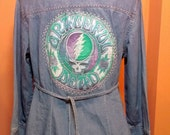 MATERNITY STEALIE TOP Denim Boho Grateful Dead Inspired Steal Your Face chambray, Women's Size Medium,  Free gift wrap option