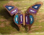 Mosaic Cross -  Hand Painted Laser Engraved Wooden Veneer Butterfly