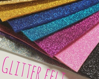 Sparkle Glitter Felt - 39 colours - Thick felt topped with sparkly glitter