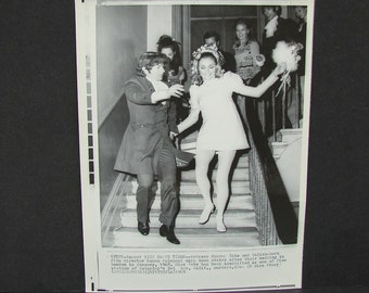 Vintage Sharon Tate & Roman Polanski Wedding AP Wire Press Photo Charles Manson Family Murder Victim