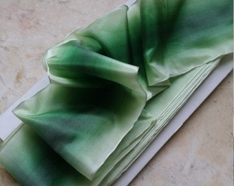 """2.625"""" Vintage French Wired Ombre Ribbon Trim, RAYON/ACETATE , Shades of Green, Bridal, Wedding, Ribbonworks, ribbon flowers, millinery"""