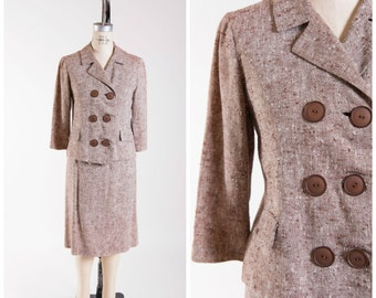 1960s Vintage Suit Set Brown Cream Tweed Vintage 60s Matching Jacket and Skirt Size Small