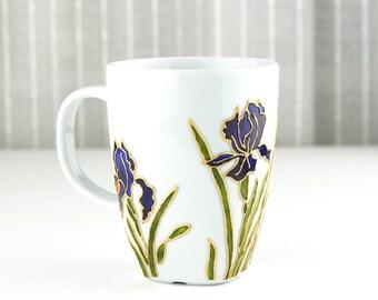 Hand Painted Porcelain Cup, Coffee Mug, Tea Cup, Tea Mug, Iris Design. Painted Mug, Iris Mug, Hand Painted Mug, Floral Coffee Mug