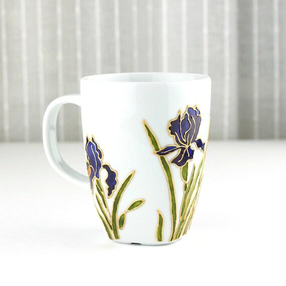 Hand painted porcelain cup coffee mug tea cup tea mug iris for Mug painting designs