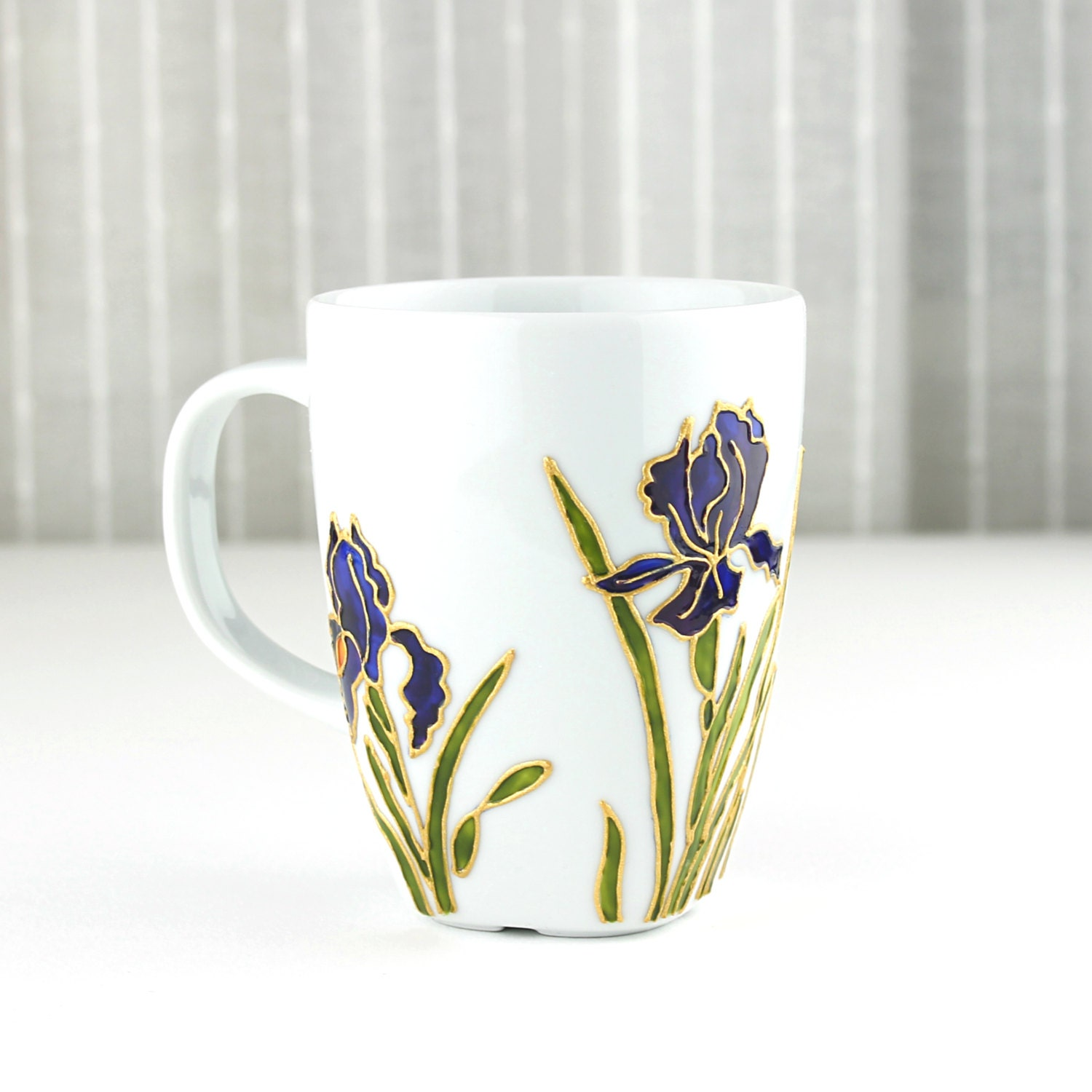 hand painted porcelain cup coffee mug tea cup tea mug iris
