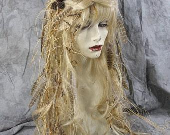 Bohemian Woodland Fairy Queen - Blonde Full Wig, twig crown Headpiece Costume Renaissance BOHO Gypsy