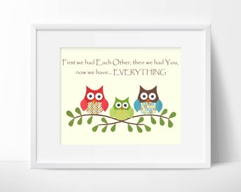 Owls- First we had each other, quote, Nursery or children artwork, decoupage, red, blue, green, brown, bird, tree branch, owl, custom print