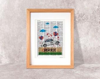 Herbie the love bug print-Herbie car print-Nursery print-Herbie on book page-Herbie the love bug dictionary print-by NATURA PICTA-DP058