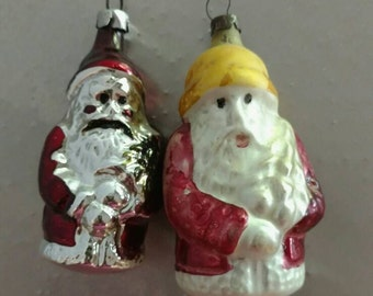 2 Early Santa Glass Ornaments Full Figure German