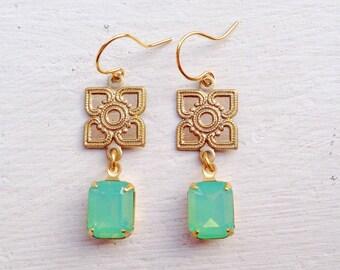 Gift For Her/Green Earrings/Opal Earrings/Green Opal Earrings/Art Deco Earrings/Boho Earrings/Rhinestone Earrings/Dainty Earrings