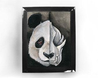 Giant Panda Art, Skull Print, Gothic Decor, Zoo Animal, Large Wall Art, Halloween Decoration, Taxidermy Art, Skeleton Picture, Custom Size