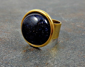 Statement Ring, Blue, Goldstone Ring, Gold Ring, Gemstone, Round, Rings for Women, Adjustable, Cocktail Ring, Big Ring, Navy Blue
