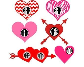 Heart Monogram Svg, Heart Monogram Frames, Svg Files, Cricut, Silhouette