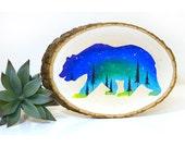 Painted bear sign, bear wood sign, colorful bear art, wood slice art, northern lights art, wood wall art, nature art, nursery art on wood