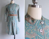 Vintage 70's Paisley Print Turquoise & Grey Mod Dress XS or S
