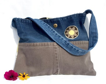 Recycled Denim Tote Bag, Boho Style Bag, Upcycled Denim Medium Tote, Jean Fabric Handbag, Floral Fabric Shoulder Bag, Handmade Market Bag
