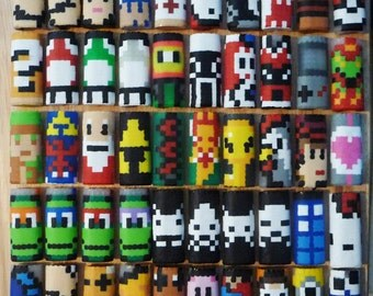 You Choose - 2 Perler Bead LIGHTER CASES - gifts - nintendo - mario - zelda - tmnt - pokemon - mega man - south park - mushroom