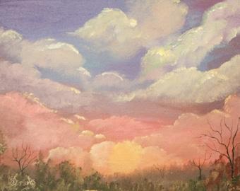 Sunrise cloud dramatic original painting