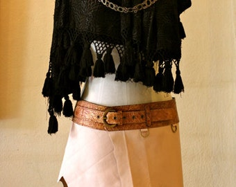 Festival Leather Mini Skirt - Hadra - Nude Beige & Gold - with Leather Belt and Secret Pocke