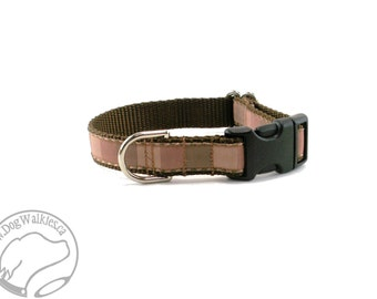 """Chocolate Squares Dog Collar - 3/4"""" (19mm) - Choice of style and size - Martingale or Quick Side Release - Brown Squares"""