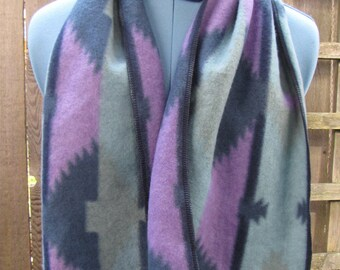 Upcycled Fleece Winter Scarf/ Southwestern Eco Scarf Wrap, Winter Fashion Fleece Scarves Purple Blue Green