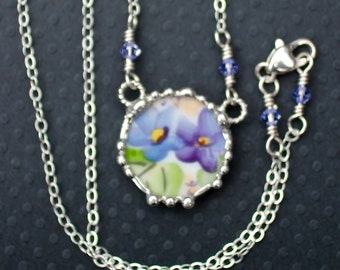 Necklace, Broken China Jewelry, Broken China Necklace, Purple and Blue Violet China, Sterling Silver Chain, Soldered Jewelry