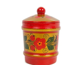 Vintage Russian Wood Jar Khokhloma Painted Pot With Lid Folk Art Hand Painted Russian Salt Box Red and Gold
