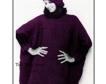 No.549 Crochet Pattern PDF Vintage - Women's Sleeved Turtleneck Poncho & Beret Hat - 1970's Retro Crochet Pattern - Instant Download