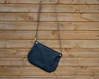minimalist leather crossbody bag - ISLA - Ebony Black adjustable Tan leather strap shoulder purse - optional matching leather tassel