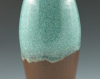 Tall Bottle or Vase in Aqua with Brown Handmade Pottery