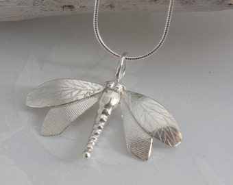 Handmade Silver Dragonfly Necklace
