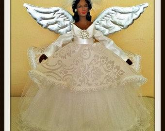 Angel Tree Topper, All White Christmas Decoration, African American Angel Treetop, Black Angel Treetopper