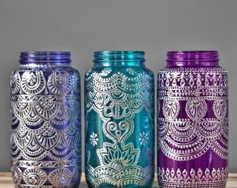 Colorful Glass Vase, Hand Painted Mason Jar with Silver Metal Design, Choose One of Three Henna Designs and Jewel Toned Glass Colors