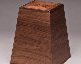 Cremation urn, Walnut Obelisk urn, Funeral urn, Urn for large pet, Adult urn