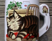 Vintage Footed Kitty Coffee Mug - Made in Japan Cat Cup - Hickory Dickory Dock Mouse Clock Drinkware