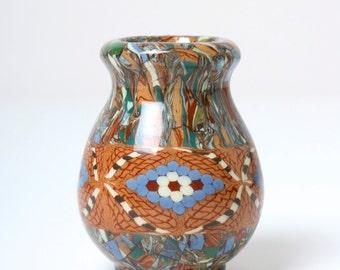 Jean Gerbino Vallauris mosaic vase - French studio pottery - 1930s - art deco art nouveau - fine art ceramics miniature clay mosaic pot vase