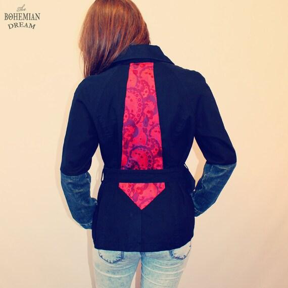 bohemian jacket trench coat 90s vintage denim sleeves tie