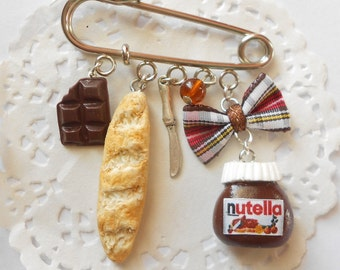 mini wearable food Nutella inspired hazelnut spread cream baguette bag charm pin brooch best seller handmade miniature polymer clay jewelry