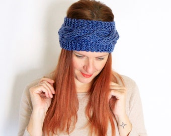 Denim blue headband, cable headband, blue grey headband, chunky headband, chunky earwarmer, cable earwarmer, Charis, ready to ship