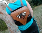 Bee Backpack or Leather Satchel Two Tone Brown Leather Handbag with Bee Detailing by Ariom Designs