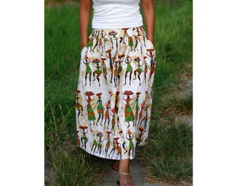 African Women Skirt / Ethnic Mid Calf in Ivory / Midi Skirt with Pockets