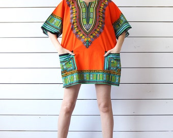 Vintage native tribal red green colorful print cotton tunic shirt top