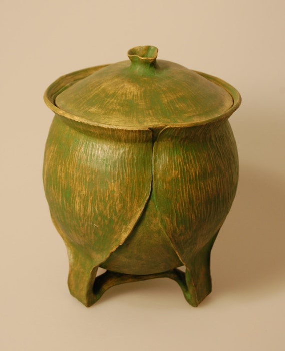 Urn Wheelthrown Leaves Handcarved Green Enveloped KH0802 Youth Cremation Ashes Ceramic Urn Youth Handcrafted Artistic
