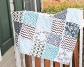 Baby Rag Quilt- Ready to ship Rag Quilt, Blue rag quilt, baby boy rag quilt, baby shower gift, animal rag quilt, bike rag quilt