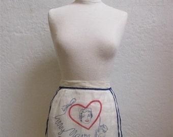 "On Sale! 1940's "" My Navy Sweetheart"" Ivory Half Apron"