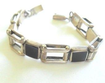 """Vintage Bracelet Silver Link Black Stones Modernist Mexico 7.25 """""""