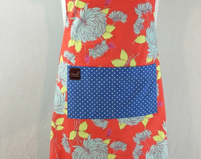 Apron in Orange and Teal Floral, Organic Cotton Reversible, flattering fit, ADULT size.  Adjustable neck strap and waist tie, Spring Fashion