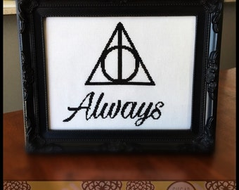 Always - Inspired by Harry Potter Cross Stitch ( Printable PDF ) - Immediate Download from Etsy - Pattern inspired by Deathly Hallows