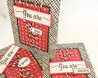 Handmade cards: Thank you cards - congratulations - you are amazing- kind - special - black and red - birthday cards - Wcards