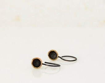 oxidised silver earrings with golden rim